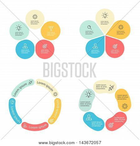 Circular infographics with 5 sections. Vector template.