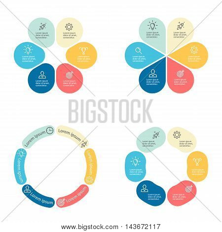 Circular infographics with 6 sections. Vector template.