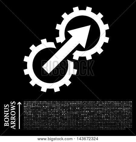 Gear Integration icon with 1200 bonus arrow and navigation pictograms. Vector illustration style is flat iconic symbols, white color, black background.