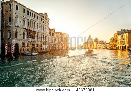 View on Gran canal with Santa Maria church on the background at the sunrise in Venice
