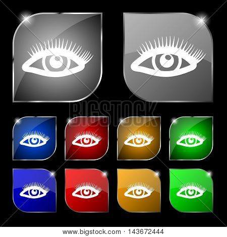 Eyelashes Icon Sign. Set Of Ten Colorful Buttons With Glare. Vector