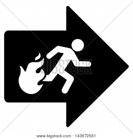 Fire Exit icon. Vector style is flat iconic symbol with rounded angles, black color, white background.
