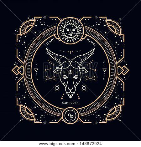 Vintage thin line Capricorn zodiac sign label. Retro vector astrological symbol, mystic, sacred geometry element, emblem, logo. Stroke outline illustration.