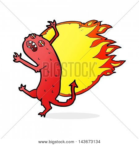 cartoon monster on fire