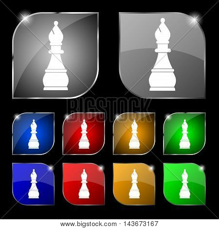 Chess Bishop Icon Sign. Set Of Ten Colorful Buttons With Glare. Vector