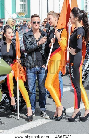 St. Petersburg, Russia - 12 August, A group of girls in uniform, 12 August, 2016. The annual parade of Harley Davidson in the squares and streets of St. Petersburg.