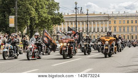 St. Petersburg, Russia - 12 August, A huge crowd of motorcyclists, 12 August, 2016. The annual parade of Harley Davidson in the squares and streets of St. Petersburg.