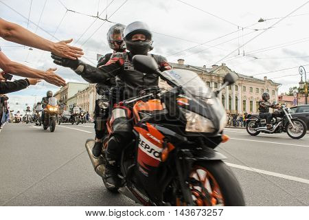 St. Petersburg, Russia - 12 August, Welcome bikers on the go, 12 August, 2016. The annual parade of Harley Davidson in the squares and streets of St. Petersburg.
