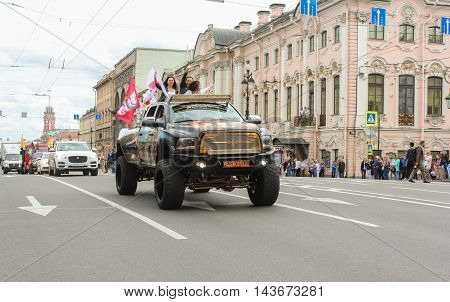 St. Petersburg, Russia - 12 August, Large SUV closing parade Harley Davidson, 12 August, 2016. The annual parade of Harley Davidson in the squares and streets of St. Petersburg.