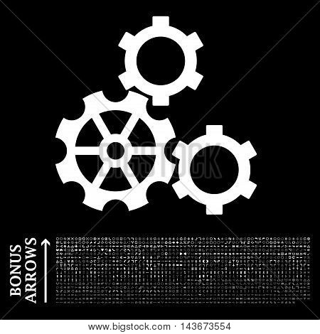Gears icon with 1200 bonus arrow and navigation pictograms. Vector illustration style is flat iconic symbols, white color, black background.