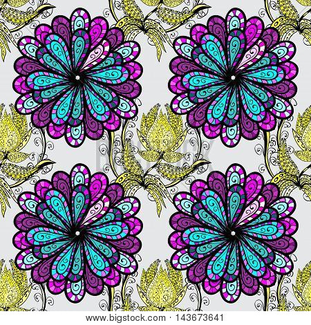 Vector seamless pattern with stylized floral mandalas.