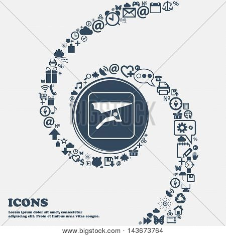 Hang-gliding Icon In The Center. Around The Many Beautiful Symbols Twisted In A Spiral. You Can Use