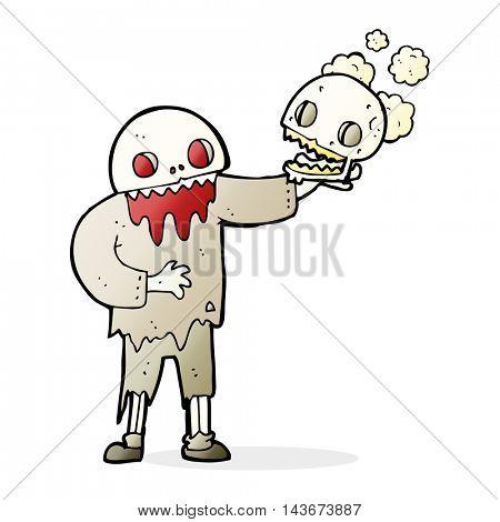 cartoon zombie holding a skull