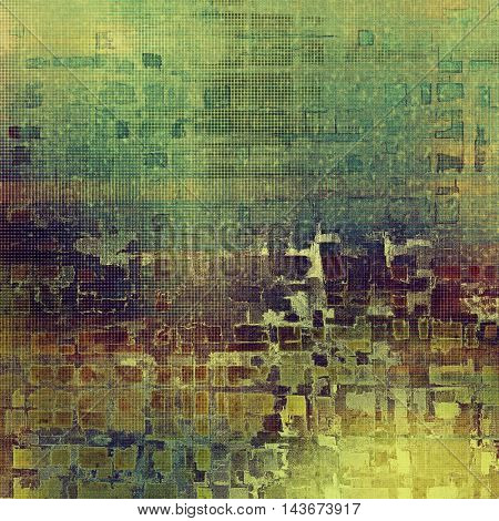 Distressed texture with ragged grunge overlay. Wrinkled background or backdrop with different color patterns: yellow (beige); brown; green; blue; purple (violet); cyan