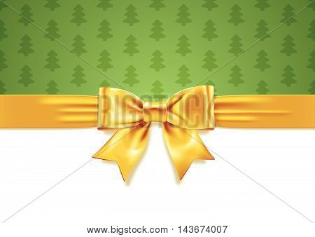 Vector illustration of Yellow Gift Bow on white and green background