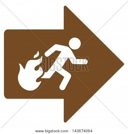 Fire Exit icon. Vector style is flat iconic symbol with rounded angles, brown color, white background.