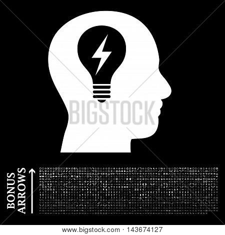 Head Bulb icon with 1200 bonus arrow and navigation pictograms. Vector illustration style is flat iconic symbols, white color, black background.