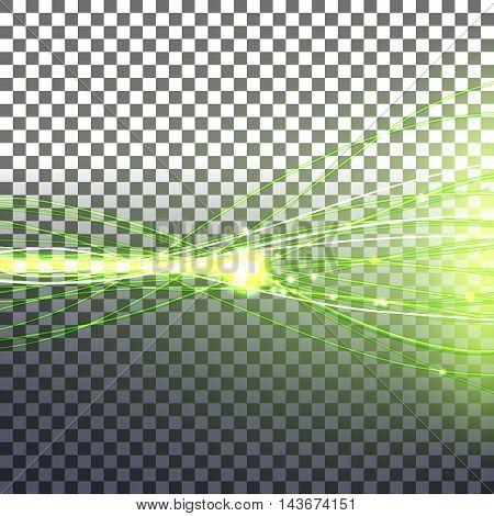 Green magic light effect at transparent background. Technology abstract illustration. Vector.