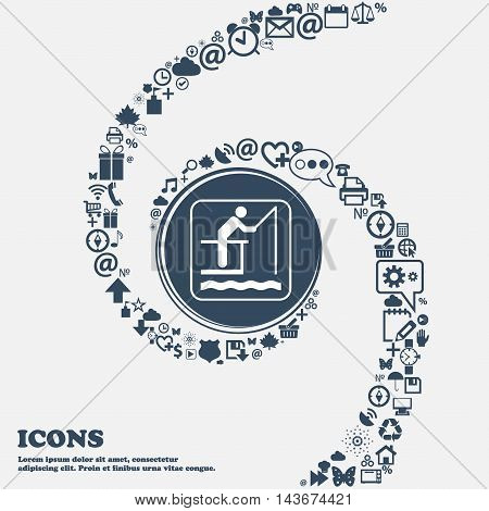 Fishing Icon In The Center. Around The Many Beautiful Symbols Twisted In A Spiral. You Can Use Each