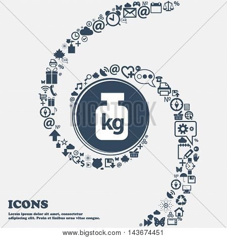 Weight Icon In The Center. Around The Many Beautiful Symbols Twisted In A Spiral. You Can Use Each S