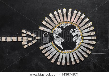 Internet SFP network modules as the shape of Earth and arrow padlock on the black background.Concept of internet security/computer data encryption / data protection / security enhancement