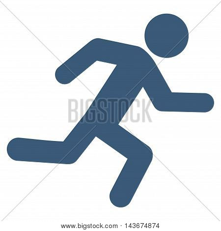 Running Man icon. Vector style is flat iconic symbol with rounded angles, blue color, white background.