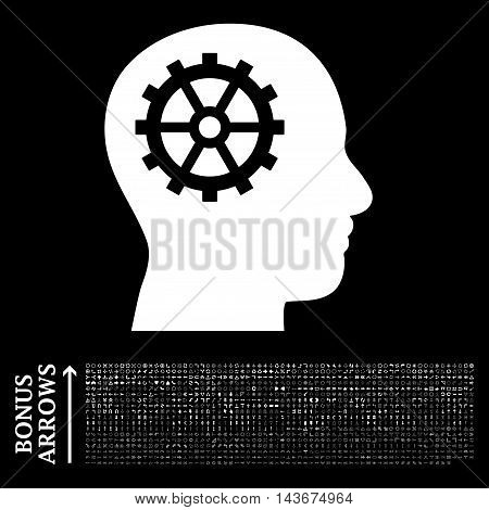 Intellect icon with 1200 bonus arrow and navigation pictograms. Vector illustration style is flat iconic symbols, white color, black background.