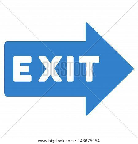 Exit Arrow icon. Vector style is flat iconic symbol with rounded angles, cobalt color, white background.