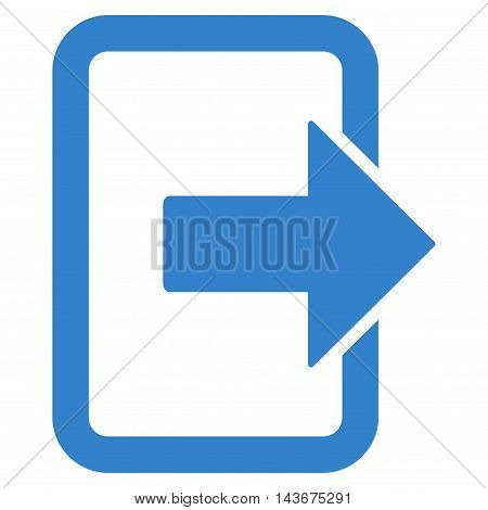 Exit Door icon. Vector style is flat iconic symbol with rounded angles, cobalt color, white background.