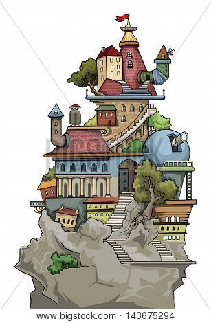 Fantastic weird cute colorful city village, with various buildings and trees, vector illustration
