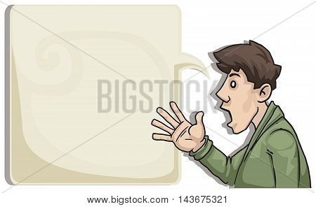 Young man talking and pointing with hand, vector illustration