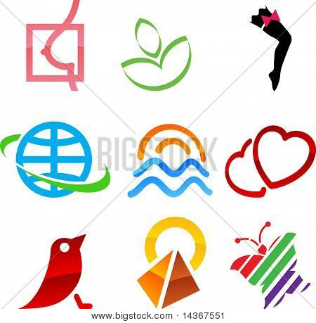 Set of colored elements. Vector illustration.