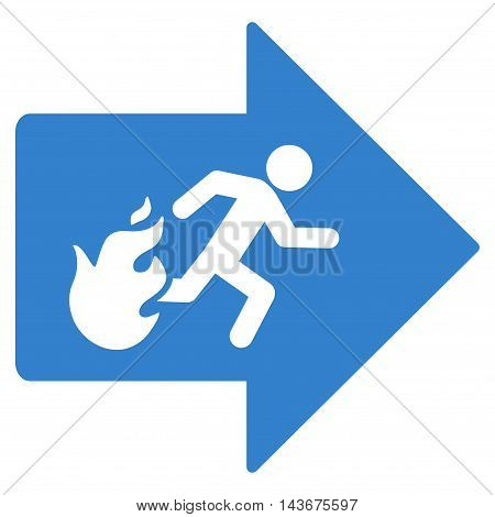 Fire Exit icon. Vector style is flat iconic symbol with rounded angles, cobalt color, white background.