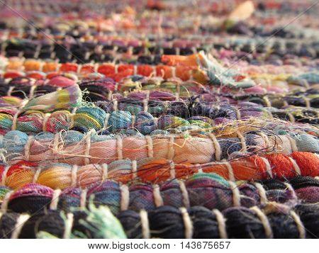 Woven bright multicolored textile cotton rug carpet