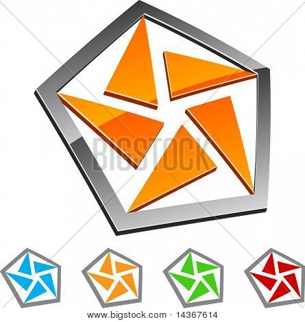 Set of Pentagon elements. Vector illustration.
