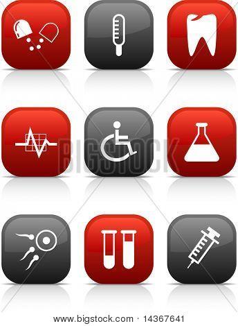Medical  button set. Vector illustration.