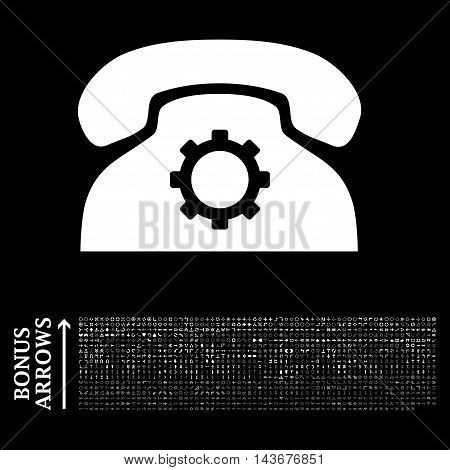 Phone Settings icon with 1200 bonus arrow and navigation pictograms. Vector illustration style is flat iconic symbols, white color, black background.