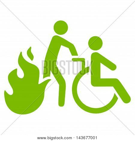 Fire Patient Evacuation icon. Vector style is flat iconic symbol with rounded angles, eco green color, white background.