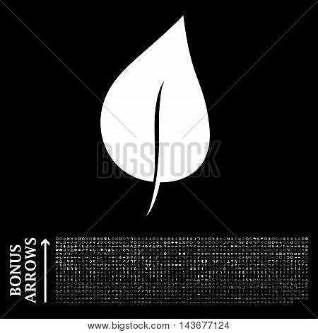Plant Leaf icon with 1200 bonus arrow and navigation pictograms. Vector illustration style is flat iconic symbols, white color, black background.
