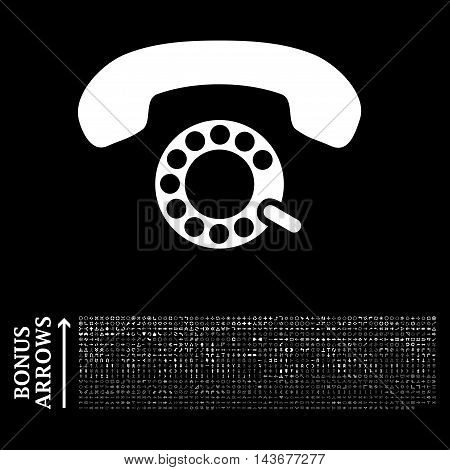 Pulse Dialing icon with 1200 bonus arrow and direction pictograms. Vector illustration style is flat iconic symbols, white color, black background.