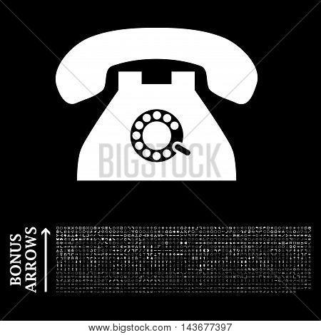 Pulse Phone icon with 1200 bonus arrow and navigation pictograms. Vector illustration style is flat iconic symbols, white color, black background.