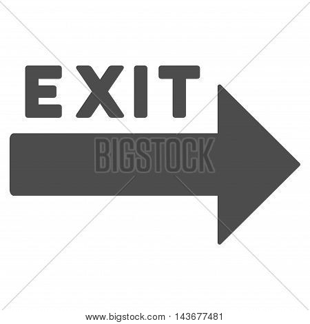 Exit Arrow icon. Vector style is flat iconic symbol with rounded angles, gray color, white background.