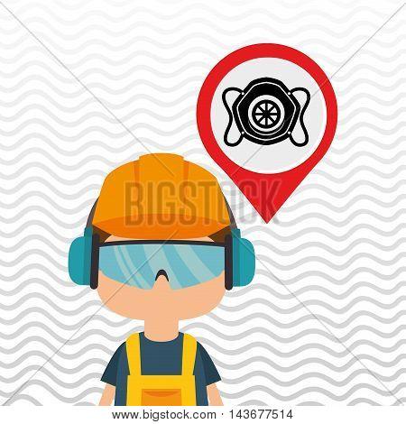 worker protection power plant vector illustration design