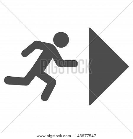 Exit Direction icon. Vector style is flat iconic symbol with rounded angles, gray color, white background.