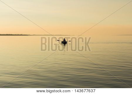 Man and nature. Evening silhouette. Background. Minimalistic landscape