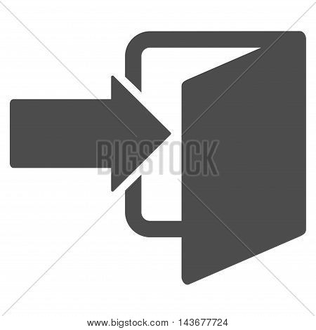 Exit Door icon. Vector style is flat iconic symbol with rounded angles, gray color, white background.