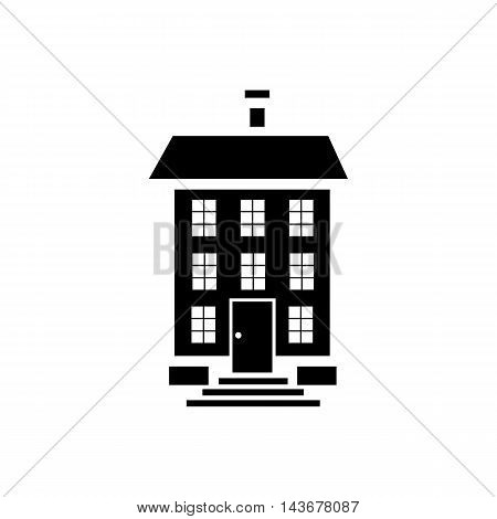 Three storey house icon in simple style isolated on white background