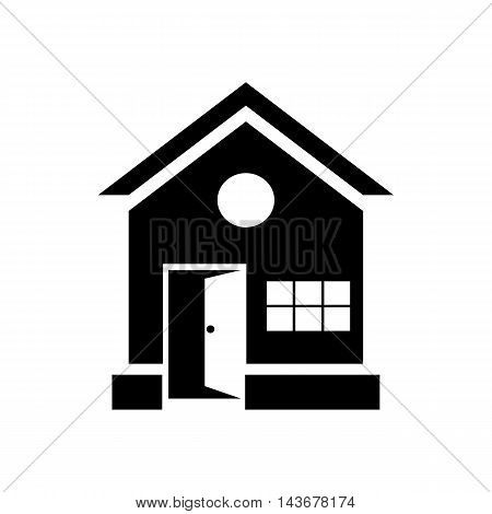 House with open door icon in simple style isolated on white background