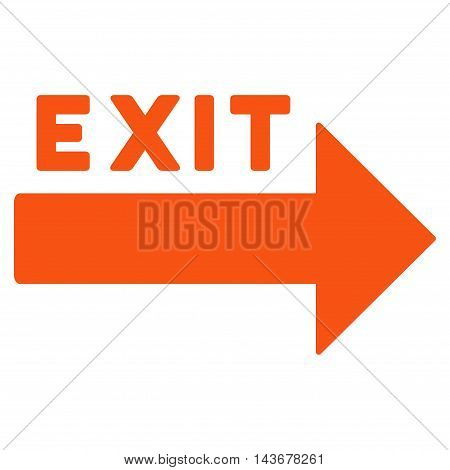 Exit Arrow icon. Vector style is flat iconic symbol with rounded angles, orange color, white background.