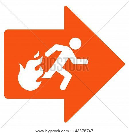 Fire Exit icon. Vector style is flat iconic symbol with rounded angles, orange color, white background.